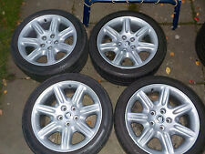 REFURBISHED JAGUAR FLUTE ALLOY WHEELS WITH TYRES (255/40 18). FITS XK, XJ, XJR.