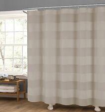 Semi Sheer Taupe Fabric Shower Curtain: Wide Stripe Design