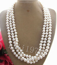 New 9-10mm white freshwater pearl necklace 54""