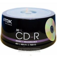 60 New TDK 40X Music Digital Audio 700MB CD-R CDR [FREE USPS Priority Mail]