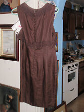 VINTAGE CHOCOLATE BROWN 100% LINEN DONNA MORGAN PETITES DRESS SIZE 6