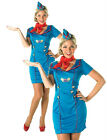 (R) Adult AIR HOSTESS Fancy Dress Cabin Crew Stewardess Costume UK Sizes 8 - 18
