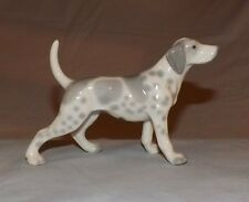 Vintage Ceramic porcelain dog figurine Japan Pointer grey white spots figure