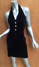 Vintage black velvet halter dress, 60's mod, short mini, cocktail, Sz4, 80's