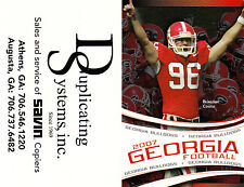 2007 GEORGIA BULLDOGS FOOTBALL POCKET SCHEDULE - UNFOLDED