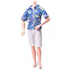 Flowery Shirt Suit for Ken Doll Barbie Cloth White Short Pants Fashion Doll JG