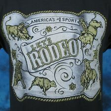 vintage 80s COWBOY LET'S RODEO PAPER THIN T-Shirt SMALL horse bull belt buckle