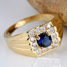 925 Sterling Silver Vermiel Natural Gem Stone Sapphire & Cz Men's Ring Jewelry