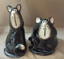 Black Cats Salt & Pepper Shakers No Mark - Whimsical Cartoonish Ceramic