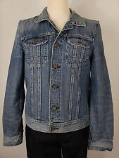 All Saints Mens Blue Denim Vintage Look Frayed Detail Jacket Coat Size Medium