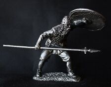 Viking with Spear and Shield Tin Toy soldier 54 mm., figurine, metal sculpture.