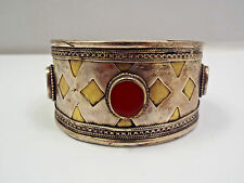 Antique Turkoman Afghan Tribal Sterling & Gold w/ Carnelian Claw Cuff Bracelet