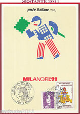 ITALIA MAXIMUM MAXI CARD REPUBLIQUE FRANÇAISE POSTE FRANCE 1991 MILANOFIL C422