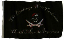 """12x18 12""""x18"""" Jolly Roger Pirate Beatings Continue Sleeve Flag Boat Car Garden"""