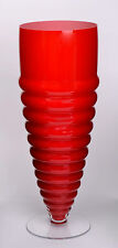 Contemporary Red Glass Footed Vase With White Colour Inside    H-49,5cm