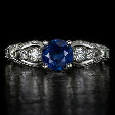 VINTAGE NATURAL KASHMIR BLUE SAPPHIRE G SI DIAMOND ENGAGEMENT COCKTAIL RING 14k