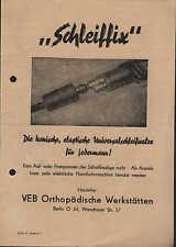 BERLIN, Prospekt 1954, VEB Orthopädische Werkstätten Schleiffix Unischleifwalze