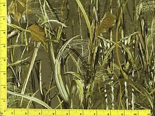 Woodland Retreat Camo Tall Green Grasses Leaves Quilting Fabric by Yard  #171