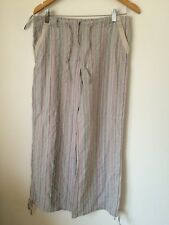 Top Shop Striped Size 12 Cotton  Loose Fit Trousers  T3538