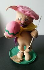 """Vintage 1989 Annalee Mobilitee Dolls 11"""" Easter Bunny Painting Easter Egg #0658"""