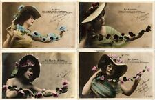 GLAMOUR LADIES WITH HATS CHAPEAUX REAL PHOTO 18 Vintage Postcards pre-1940