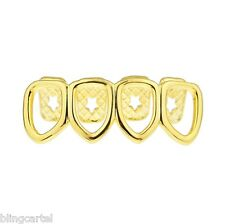 14k Gold Plated Four Open Face Tooth Grillz Lower Row Bottom Teeth Hip Hop Grill
