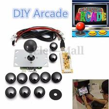 Black DIY Arcade USB Encoder Kits Replace Sanwa Joystick+10 China Button to PC