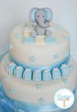 BOYS ELEPHANT CAKE TOPPER DECORATION SET CHRISTENING BIRTHDAY