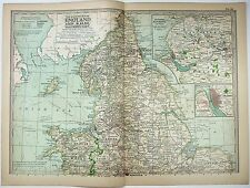 Original 1897 Map of The Northern Parts of England & Wales by The Century Co.