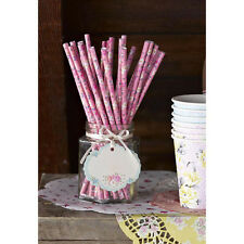 Alice in Wonderland Pink Floral Paper Straws x 30 - Wedding Party