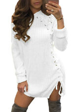 New Ladies White Knit Lace up Side Long Sleeves Sweater Dress Size UK 8-10