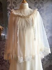 Vintage 80s Wedding Dress Angle wings Cape High Standing Collar Victorian Style