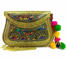 Indian vintage Handmade metal Mosaic stone purse clutch sling Bags for women