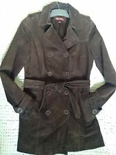 Wit And Wisdom Real Suede�� Chocolate ��Brown Trench Coat Mac Jacket Size 10,S,M