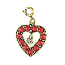 Joan Rivers Simulated Red Coral & Turquoise Reversable Heart Charm