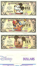 "2008 MICKEY MOUSE SET of  DISNEY DOLLARS 1,5,10 - MICKEY MOUSE ""T"" SERIES"