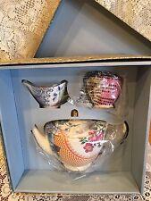Wedgwood Butterfly Bloom Tea Set Bone China Teapot Cream & Sugar