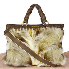 Authentic MIU MIU Logos 2Way Shoulder Hand Bag Fox Fur Leather Brown 33K649