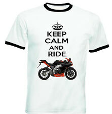 APRILIA RS4125 2012 KEEP CALM AND RIDE -COTTON TSHIRT-ALL SIZES IN STOCK