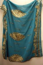 Vintage Jade Green Dupatta Indian Scarf Embroidered Sarong Veil Stole Hijab