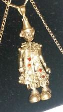 """STUNNING 9ct 375 Yellow Solid Gold Articulated Movable CLOWN Pendant & 20"""" Chain"""
