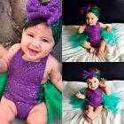 Sequin Baby Girls Mermaid Tulle Romper Bodysuit Headband Sunsuit Outfits Clothes