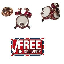 LAPEL PIN BADGE musicians DRUM KIT drummers in Silver & Rose Gold Plated  PB009