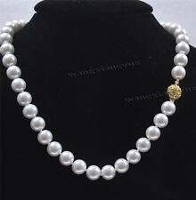 """10mm White Akoya Shell Pearl Hand Knotted Round Beads Necklace 18"""" AAA+"""