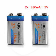 2x EBL 280mAh 9 Volt 9V 6F22 Ni-MH Nickel Metal Hydride Rechargeable Battery