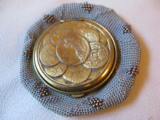 Antique Victorian Gold T Roman Greek Coin Steel Bead Grey Tam O Shanter Purse