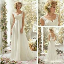 2015 White/ivory  chiffon Wedding Dress Bridal Gown Size 6_ 16 UK