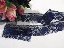 3 metres Navy Blue Floral Lace Trim 4 cm wide #6BE304R