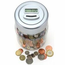 ELECTRONIC LCD COIN MONEY COUNTING JAR BOX SAVING SAFE DIGITAL PIGGY BANK boxed