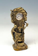 ANTIK WIEN TISCH UHR JUGENDSTIL BRONZE VIENNA TABLE CLOCK ART NOUVEAU UM 1910